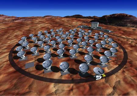 Representación por computadora de la estación ALMA una vez finalizada su construcción - Imagen de ESO
