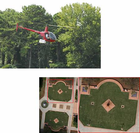 Helicóptero con el dispositivo añadido (arriba), y fotografía tomada por dicho dispositivo (abajo) - Imagen de Georgia Tech