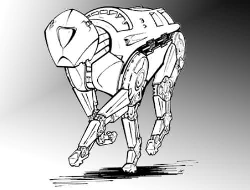 Boceto de un robot cuadrúpedo