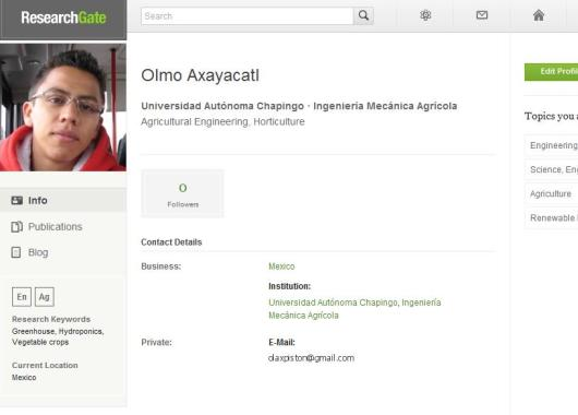 Así se ve un perfil en ResearchGate