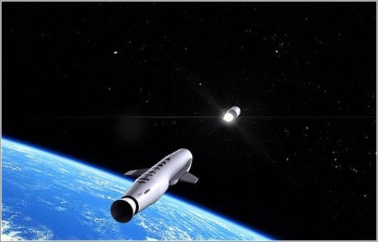 Representación del LauncherOne poniendo un satélite en órbita
