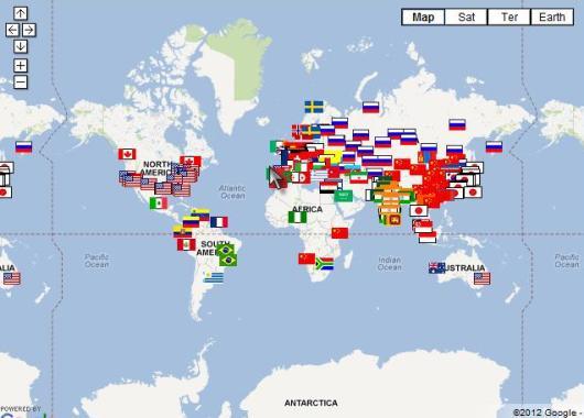 Mapa de las agencias espaciales
